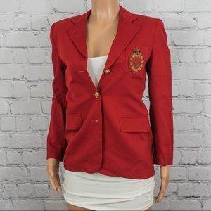 Ralph Lauren embroidered red blazer